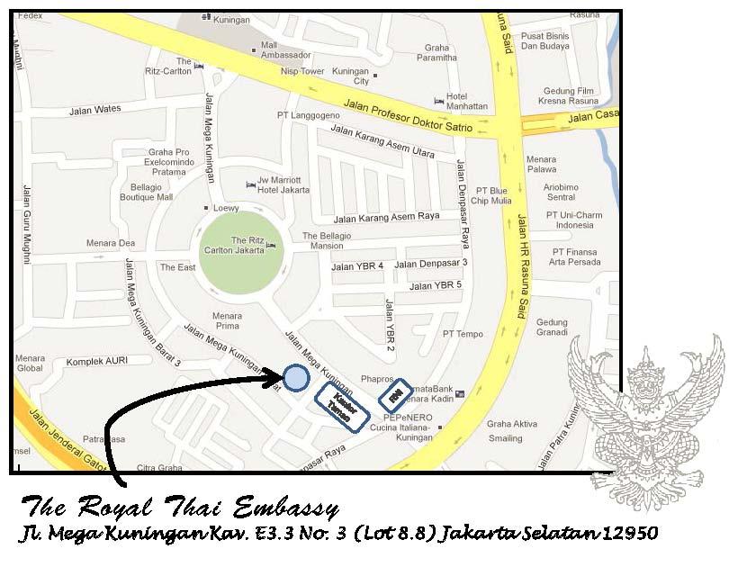 Lokasi The Royal Thai Embassy Jakarta