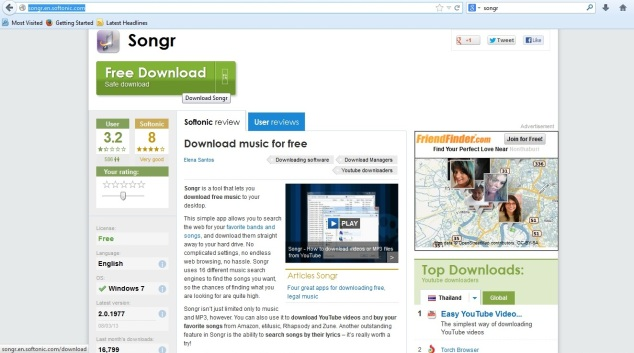 Songr download page